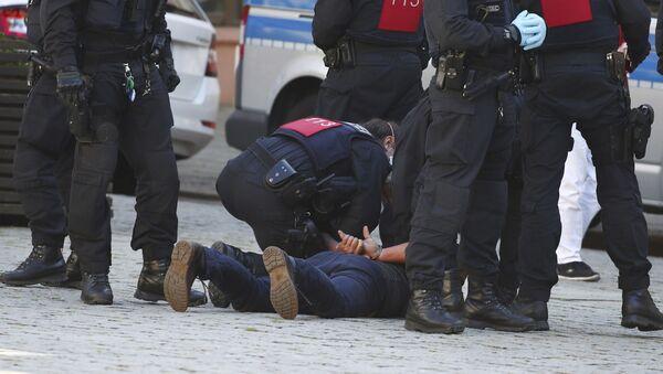 Protester in Gera, Germany - Sputnik International