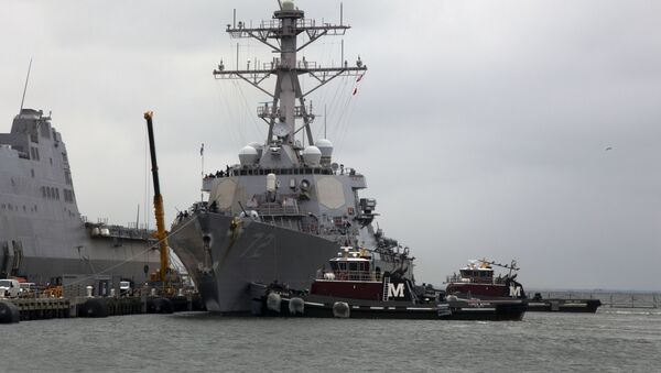 he Arleigh Burke-class destroyer USS Mahan (DDG 72) returns from sea trials Sept. 13. Mahan is wrapping up an Extended Selected Restricted Availability managed by Mid-Atlantic Regional Maintenance Center (MARMC) - Sputnik International