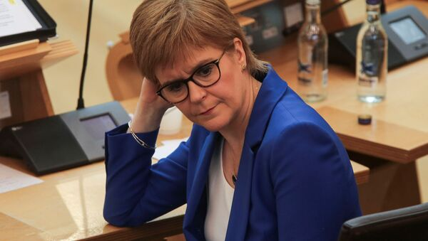 Scotland's First Minister Nicola Sturgeon attends the First Ministers Questions, amid the coronavirus disease (COVID-19) outbreak, at the Scottish Parliament in Edinburgh, Scotland, Britain May 13, 2020 - Sputnik International