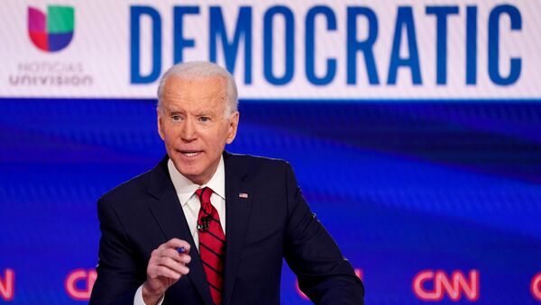 Democratic U.S. presidential candidate and former Vice President Joe Biden speaks during the 11th Democratic candidates debate of the 2020 U.S. presidential campaign, held in CNN's Washington studios without an audience because of the global coronavirus pandemic, in Washington, U.S., March 15, 2020 - Sputnik International