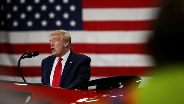 U.S. President Donald Trump addresses workers and guests during a visit at the Ford Rawsonville Components Plant, which is making ventilators and medical supplies, during the coronavirus disease (COVID-19) pandemic in Ypsilanti, Michigan, U.S., May 21, 2020 - Sputnik International