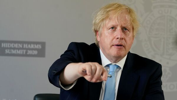 Britain's Prime Minister Boris Johnson opens the Hidden Harms Summit via Zoom from the White Room of 10 Downing Street during COVID-19 in London, Britain May 21, 2020.  - Sputnik International