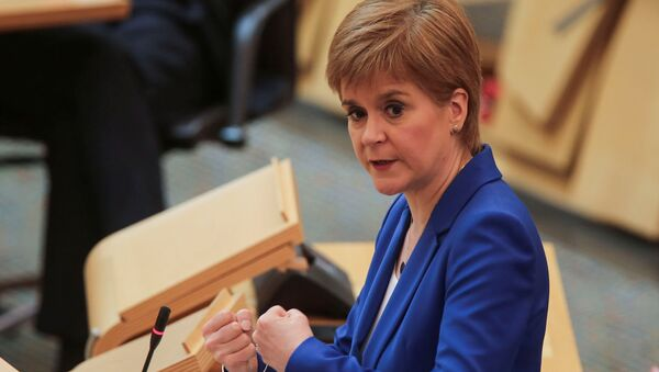 Scotland's First Minister Nicola Sturgeon speaks during the First Ministers Questions, amid the coronavirus disease (COVID-19) outbreak, at the Scottish Parliament in Edinburgh, Scotland, Britain May 13, 2020 - Sputnik International