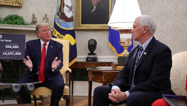 U.S. President Donald Trump speaks as Vice President Mike Pence looks on during a meeting with Texas Governor Greg Abbott about coronavirus disease (COVID-19) response in the Oval Office at the White House in Washington, U.S., May 7, 2020 - Sputnik International