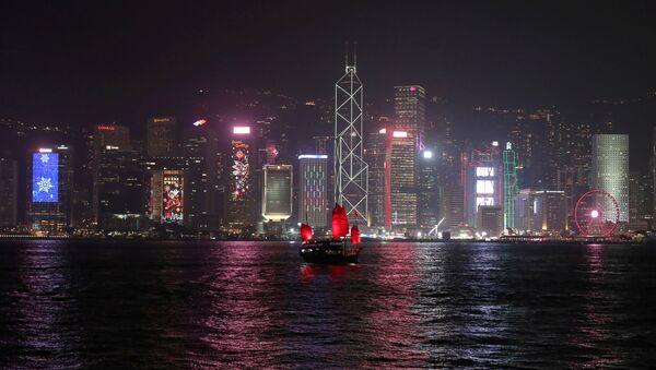 The Hong Kong skyline is lit up on Christmas Eve in Hong Kong, China, December 24, 2019 - Sputnik International