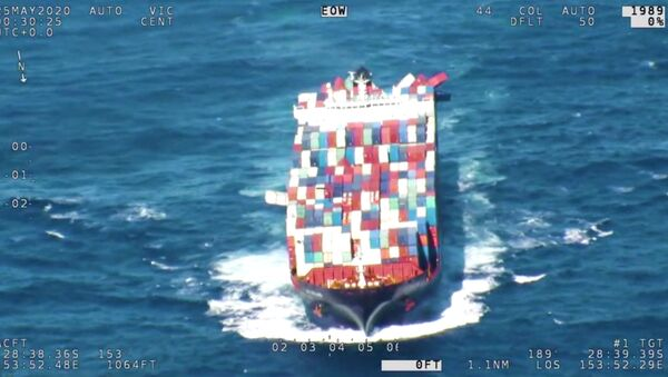 An APL England container ship is seen with some of the containers leaning outwards, after sailing throug rough seas, May 25, 2020 in this still image obtained from a social media video - Sputnik International