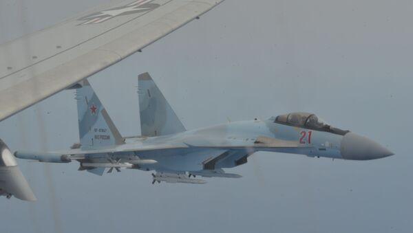 Two Russian Su-35 aircraft unsafely intercept a P-8A Poseidon patrol aircraft assigned to U.S. 6th Fleet over the Mediterranean Sea May 26, 2020.  - Sputnik International