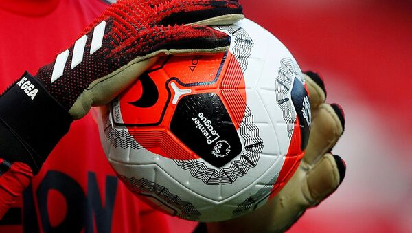 General view of a match ball held by Manchester United's David de Gea during the warm up before the match  - Sputnik International