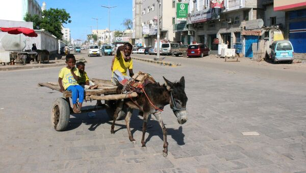 A man gestures as he rides on a donkey-drawn cart during a curfew amid concerns about the spread of the coronavirus disease (COVID-19) in Aden, Yemen April 30, 2020. - Sputnik International