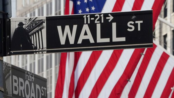 The Wall Street sign is pictured at the New York Stock exchange (NYSE) in the Manhattan borough of New York City, New York, U.S., March 9, 2020. - Sputnik International