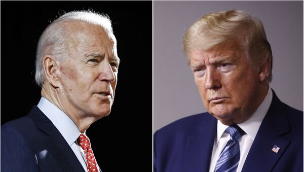 FILE - In this combination of file photos, former Vice President Joe Biden speaks in Wilmington, Del., on March 12, 2020, left, and President Donald Trump speaks at the White House in Washington on April 5, 2020 - Sputnik International