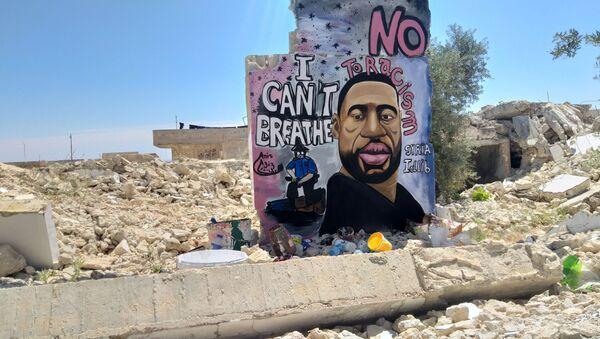 A graffiti of George Floyd is pictured in Idlib - Sputnik International