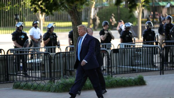 U.S. President Donald Trump walks through Lafayette Park to visit St. John's Episcopal Church across from the White House during ongoing protests over racial inequality in the wake of the death of George Floyd while in Minneapolis police custody, in the Rose Garden at the White House in Washington, U.S., June 1, 2020 - Sputnik International