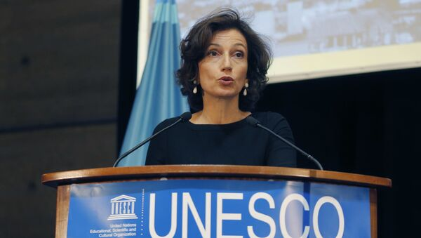 UNESCO'S Director-General Audrey Azoulay delivers a speech during the presentation of the website to counter Holocaust denial and anti-Semitism at the UNESCO headquartered in Paris, France, Monday, Nov. 19, 2018.  - Sputnik International