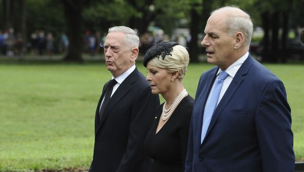 Cindy McCain, wife of late Sen. John McCain, R-Ariz., with Secretary of Defense James Mattis, left, and White House Chief of Staff John Kelly, depart after laying a ceremonial wreath honoring all whose lives were lost during the Vietnam War at at the Vietnam Veterans Memorial in Washington, Saturday, Sept. 1, 2018. - Sputnik International