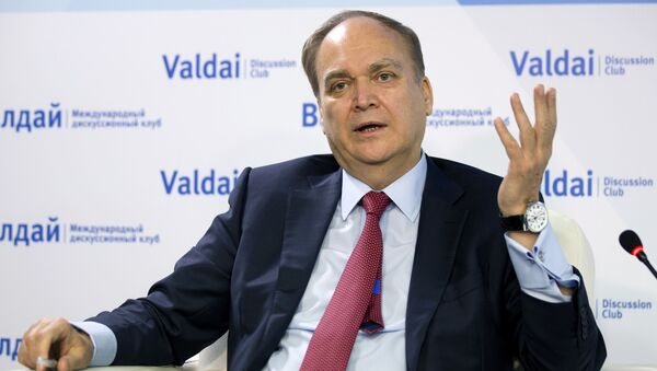 Anatoly Antonov, Russian ambassador to the U.S. gestures while speaking during a round-table discussion on the Trump-Putin summit in Helsinki in Moscow, Russia, Friday, July 20, 2018. - Sputnik International