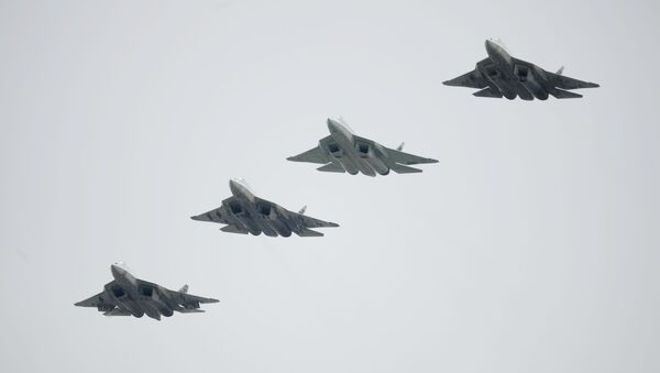 Russian Su-57 fifth-generation fighter jets during the Victory Parade in Moscow - Sputnik International