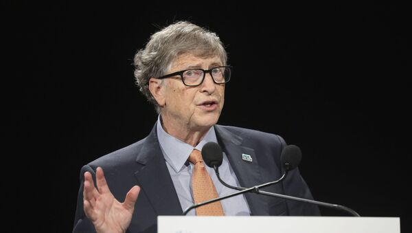 Philanthropist and Co-Chairman of the Bill & Melinda Gates Foundation Bill Gates speaks to an audience during the Global Fund to Fight AIDS event at the Lyon congress hall, central France, Thursday, 10 October 2019. - Sputnik International