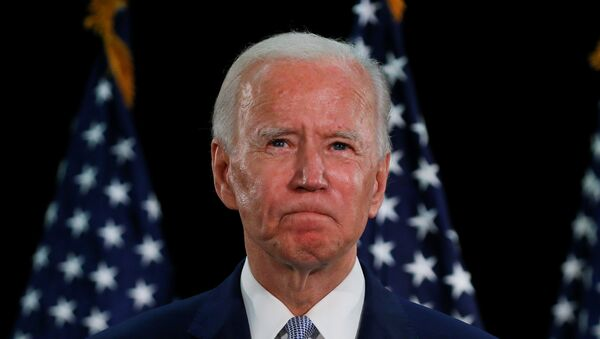 U.S. Democratic presidential candidate and former Vice President Joe Biden speaks during a campaign event about the U.S. economy at Delaware State University in Dover, Delaware, U.S., June 5, 2020.  - Sputnik International