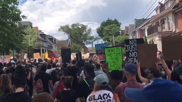 Screenshot of the video of the protests in Toronto - Sputnik International
