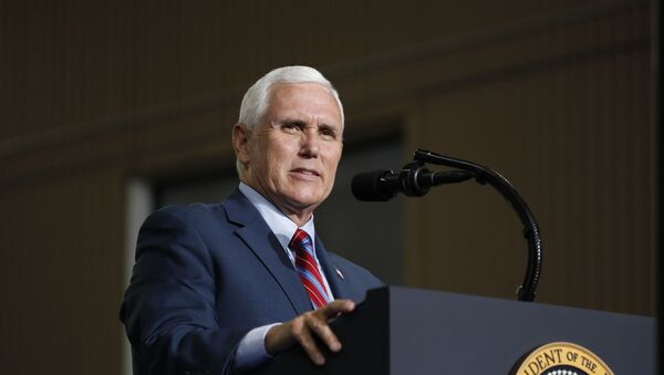 Vice President Mike Pence speaks at the Vehicle Assembly Building on Saturday, May 23, 2020, at NASA's Kennedy Space Center in Cape Canaveral, Fla. A rocket ship designed and built by SpaceX lifted off on Saturday with two Americans on a history-making flight to the International Space Station. - Sputnik International