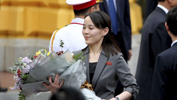 North Korean leader Kim Jong-un's sister Kim Yo Jong holds a bouquet of flowers during a welcoming ceremony at the Presidential Palace, Friday, March 1, 2019, in Hanoi, Vietnam - Sputnik International