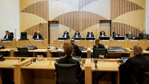 General view of courtroom of The Schiphol Judicial Complex, prior to the criminal trial against four suspects in the July 2014 downing of Malaysia Airlines flight MH17, in Badhoevedorp, Netherlands, June 8, 2020 - Sputnik International