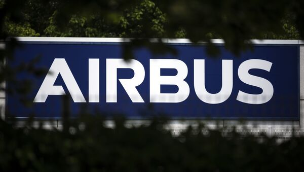The European aircraft manufacturer Airbus' logo is pictured on May 13, 2020 in Toulouse, southern France - Sputnik International
