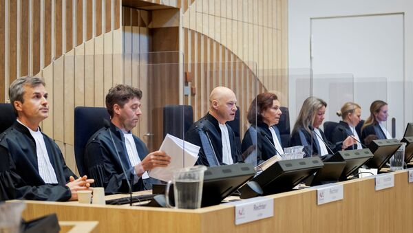 Judges are seen in a courtroom of The Schiphol Judicial Complex, prior to the criminal trial against four suspects in the July 2014 downing of Malaysia Airlines flight MH17, in Badhoevedorp, Netherlands, June 8, 2020 - Sputnik International