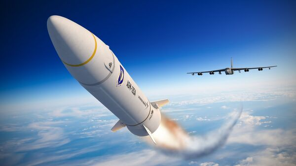 An artist concept of the AGM-183A Air-launched Rapid Response Weapon (ARRW) shows the hypersonic missile after launching from a B-52 bomber, encapsulated in a rocket that accelerates it to hypersonic speed. Lockheed Martin artist rendering. - Sputnik International