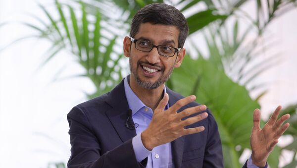 Google's chief executive Sundar Pichai addresses the audience during an event on artificial intelligence at the Square in Brussels, Monday, Jan. 20, 2020 - Sputnik International