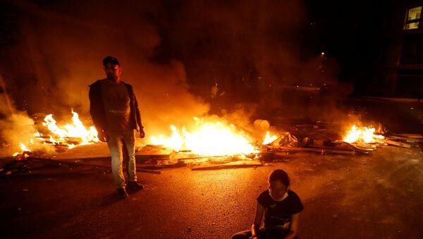 Burning fire during a protest in Beirut - Sputnik International