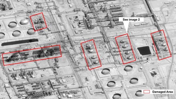 This image provided on Sunday, Sept. 15, 2019, by the U.S. government and DigitalGlobe and annotated by the source, shows damage to the infrastructure at Saudi Aramco's Abaqaiq oil processing facility in Buqyaq, Saudi Arabia. The drone attack Saturday on Saudi Arabia's Abqaiq plant and its Khurais oil field led to the interruption of an estimated 5.7 million barrels of the kingdom's crude oil production per day, equivalent to more than 5% of the world's daily supply.  - Sputnik International
