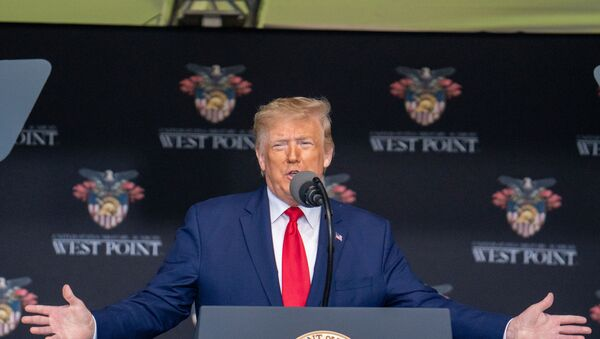 U.S. President Donald Trump gives his speech at the commencement ceremony for army cadets on June 13, 2020 in West Point, New York. - Sputnik International