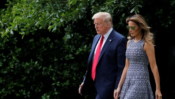 U.S. President Donald Trump departs with first lady Melania Trump for travel to the Kennedy Space Center in Florida from the South Lawn of the White House in Washington, U.S., May 27, 2020. - Sputnik International
