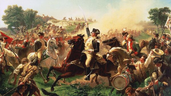 Painting titled Washington Rallying the Troops at Monmouth; depicts George Washington at the 1778 Battle of Monmouth.  - Sputnik International