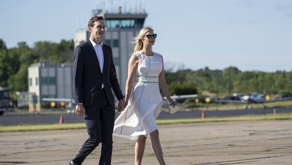 White House senior adviser Jared Kushner and his wife Ivanka Trump, the daughter and assistant to President Donald Trump, walk across the tarmac to board Air Force One at Morristown Municipal Airport, Sunday, June 14, 2020 - Sputnik International