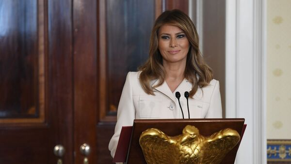 First lady Melania Trump speaks during the Governors' Spouses' luncheon in the Blue Room of the White House in Washington, Monday, Feb. 10, 2020 - Sputnik International