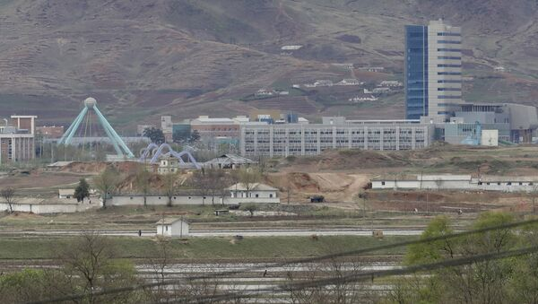 FILE - In this April 24, 2018, file photo, the Kaesong industrial complex in North Korea is seen from the Taesungdong freedom village inside the demilitarized zone during a press tour in Paju, South Korea - Sputnik International