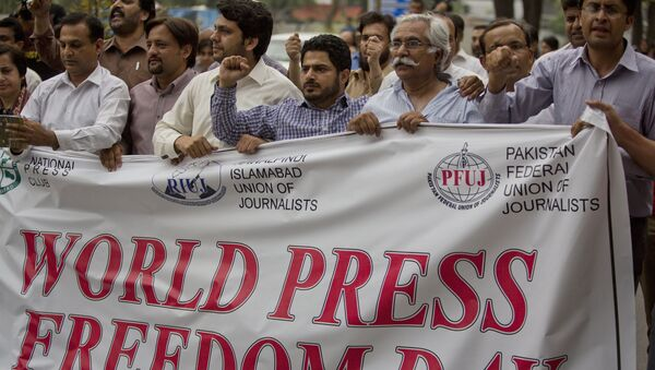 Pakistan journalists rally to observe the World Press Freedom Day in Islamabad, Pakistan, Tuesday, May 3, 2016. Dozens of journalists gathered shouting slogans for the freedom of press. - Sputnik International