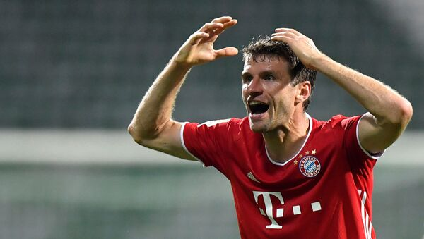 Bayern Munich's Thomas Muller reacts, following the resumption of play behind closed doors after the outbreak of the coronavirus disease (COVID-19)   - Sputnik International