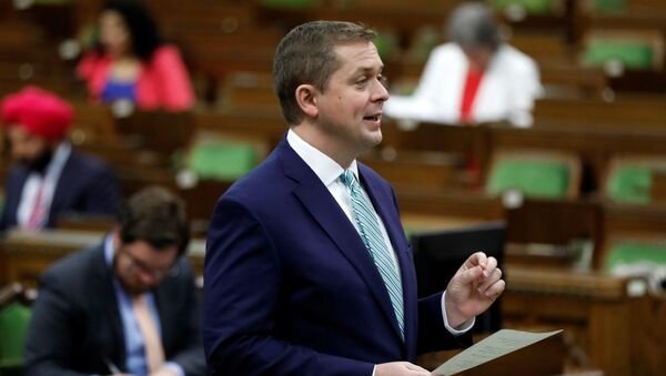 Canada's Conservative Party leader Andrew Scheer speaks during a meeting of the special committee on the COVID-19 pandemic, as efforts continue to help slow the spread of the coronavirus disease (COVID-19), in the House of Commons on Parliament Hill in Ottawa, Ontario, Canada June 16, 2020. - Sputnik International
