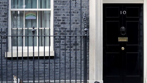A poster of a rainbow, being used as a symbol of hope during the COVID-19 pandemic, with the words we are in this together is pictured in a window at 10 Downing Street, the official residence of Britain's Prime Minister, in central London on April 8, 2020, ahead of the Government's daily COVID-19 news briefing. - Britain's prime minister began a third day in intensive care battling the new coronavirus, which has struck at the heart of the British government, infected more than 55,000 people across the country and killed nearly 6,200.  - Sputnik International
