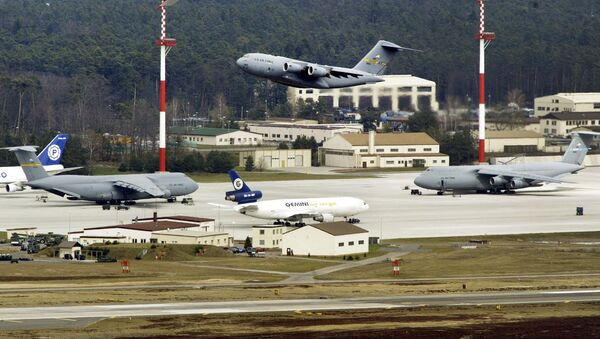 File---In this Thursday, April 3, 2003 file photo an aircraft departure from US Air Base Ramstein, Germany - Sputnik International