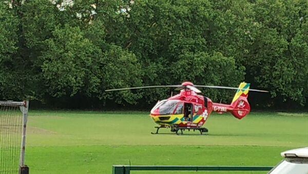 An ambulance helicopter at Forbury Garden, Reading Park - Sputnik International