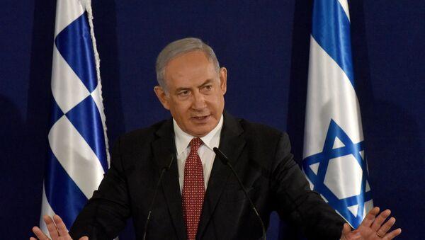 Israeli Prime Minister Benjamin Netanyahu speaks during a press briefing with Greek Prime Minister Kyriakos Mitsotakis (not pictured) in Jerusalem, June 16, 2020 - Sputnik International