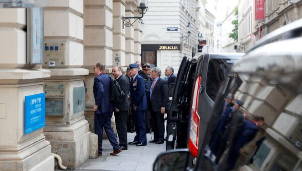 U.S. special envoy Marshall Billingslea and his delegation arrive for a meeting with Russian deputy Foreign Minister Sergei Ryabkov in Vienna, Austria June 22, 2020 - Sputnik International
