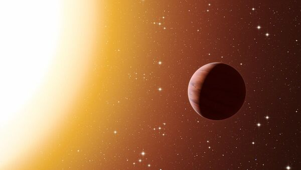 This artist's impression shows a hot Jupiter planet orbiting close to one of the stars in the rich old star cluster Messier 67, in the constellation of Cancer (The Crab) - Sputnik International