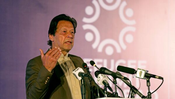 Pakistan's Prime Minister Imran Khan speaks during an international conference on the future of Afghan refugees living in Pakistan, organized by Pakistan and the UN Refugee Agency in Islamabad, Pakistan February 17, 2020 - Sputnik International