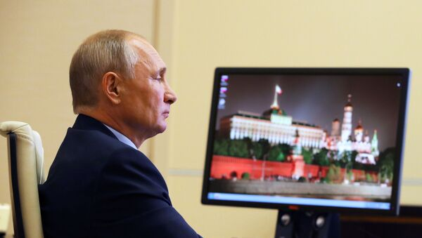 Russian President Vladimir Putin holds a meeting with members of the Russian Civic Chamber via video link from Novo-Ogarevo residence, outside Moscow, Russia - Sputnik International